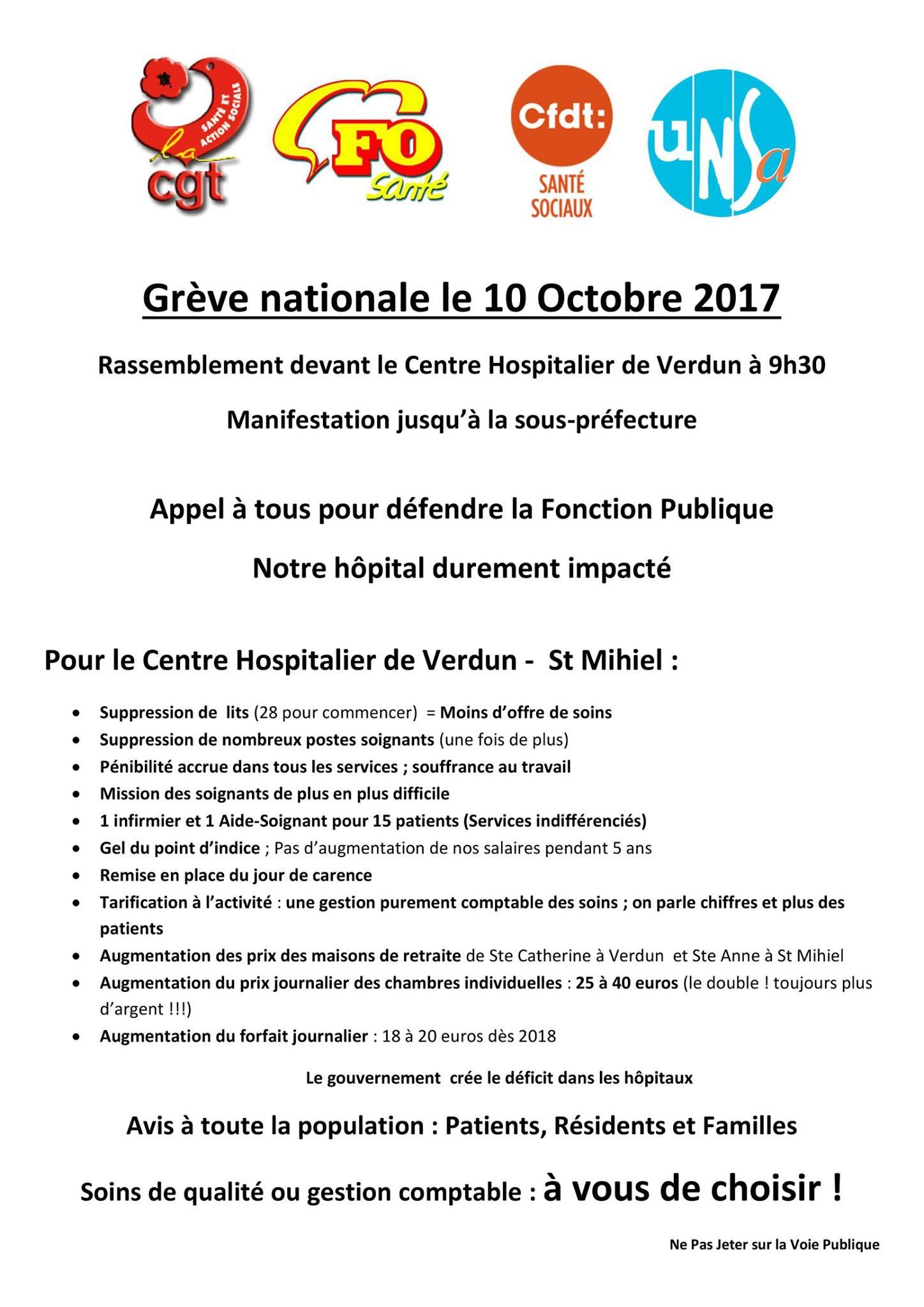 Manifestation du 10 octobre 2017 cgt centre hospitalier - Grille indiciaire ingenieur principal ...